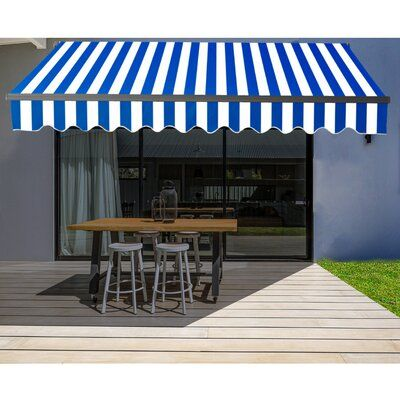 Aleko Aleko Abm16x10redwh05 16 X10 Retractable Motorized Black Frame Patio Awning Red And White Striped Colour With Images Patio Canopy Patio Sun Shades Patio Awning