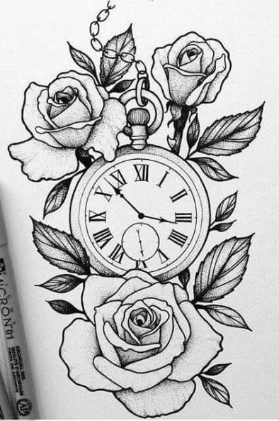 Trendy Tattoo Compass Drawing Design Ideas Compass Design Drawing Ideas Tattoo Trendy In 2020 Rose Drawing Tattoo Watch Tattoo Design Clock And Rose Tattoo