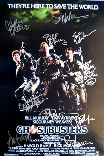 GHOSTBUSTERS movie poster cast signed by Bill Murray, Dan Aykroyd,