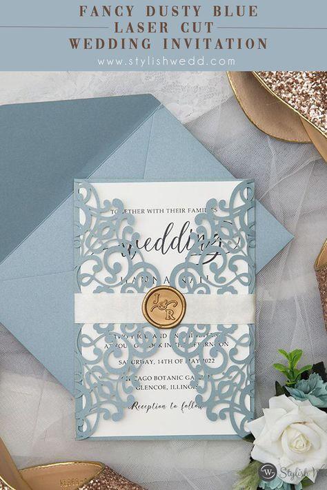 fancy dusty blue laser cut wedding invitation with custum wax seal #wedding #weddinginvitations#stylishwedd #stylishweddinvitations#springwedding#summerwedding#2021wedding#