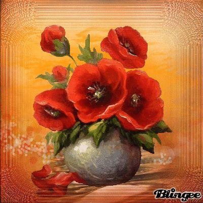 Mohnblumen In Vase Blumen Malen Blumen Malen Acryl Acrylmalerei Blumen