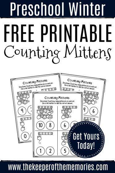 Free Printable Counting Mittens Winter Preschool Worksheets