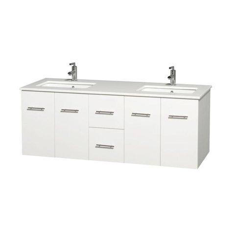 Wyndham Collection Centra 60 In Double Vanity In White With Solid