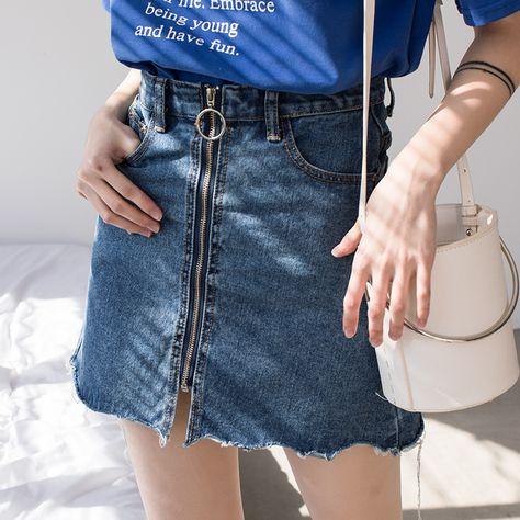 89601b1c3aa EGGKA 2018 Summer Spring High Waist Denim Skirt Women Casual Zipper A line  Mini Skirts Pocket School All matched Jeans Skirt-in Skirts from Women's  Clothing ...
