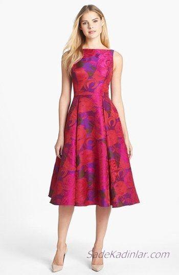Klos Elbise Modelleri Fusya Midi Kolsuz Kayik Yaka Desenli The Dress Aksamustu Giysileri Elbise Modelleri