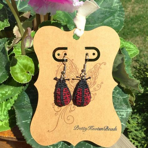 Ladybugs made using the technique of macrame. Check out my IG @prettyknotsnbeads for other earring styles! #dangleearrings #ladybugs #ladybugearrings #macrameearrings #macrame #funearrings #earrings