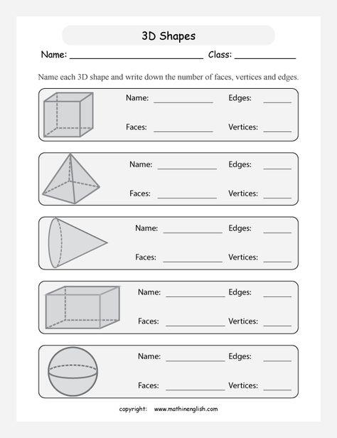 Printable Primary Math Worksheet For Math Grades 1 To 6 Based On The Singapore Math Curriculu Shapes Worksheets Geometry Worksheets First Grade Math Worksheets