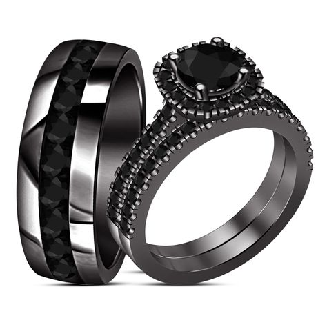 Bride & Groom Diamond Engagement Ring Trio Set Black Gold Plated Pure 925 Silver