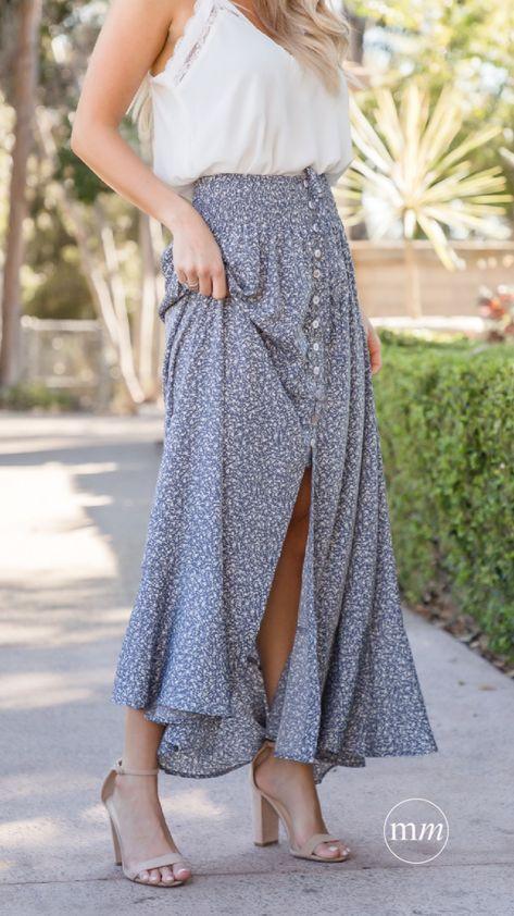Cute Flowy Spring Skirt 💙Kelsie Floral Maxi Skirt