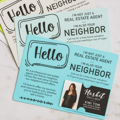Set of Hello I'm not just a Real Estate Agent, I'm also your Neighbor Mailer | Envelopes Included  | M8-M003 - BRIGHT CARROT