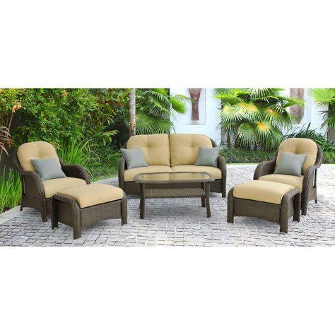 Hanover Newport 6 Piece Patio Lounge Set With Cream Cushions