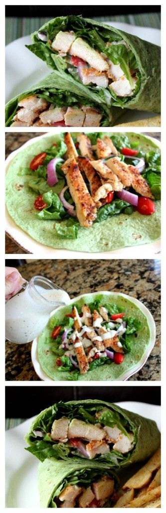 Grilled Chicken Ceasar Wrap, from Jamie Cooks It Up! Tender strips of chicken and veggies are loaded into a spinach wrap and drizzled with homemade ceasar dressing. So good! One of my all time favorites.