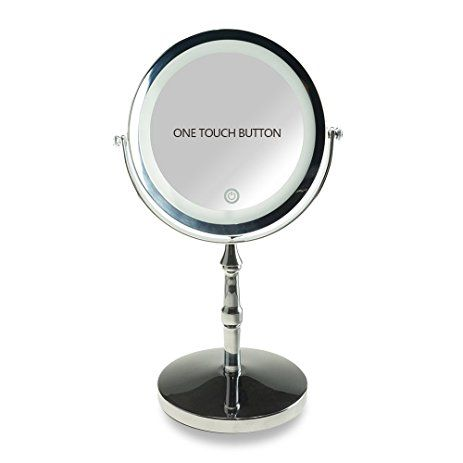 Lansi Lighted Table Makeup Mirror 10x Magnifying Double Sided Cosmetic Mirror With Touch Switch 7 Inch Round Chrome Fi Cosmetic Mirror Mirror Makeup Mirror