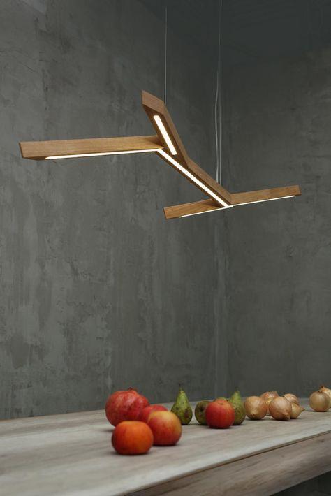 Pendelleuchte Holz Hangelampe Blitz Handgemachte Esstischlampe
