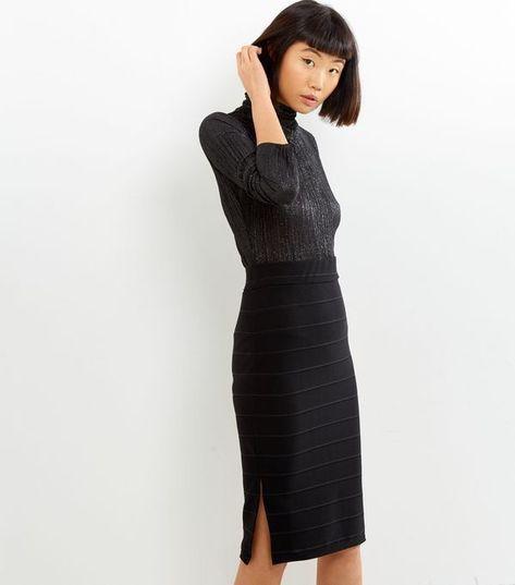 New Look Black Bandage Pencil Skirt Size Uk 6 Lf075 Qq 20 Fashion