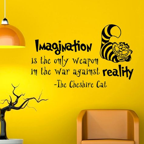 Alice In Wonderland Wall Decal Quote Imagination Is The Only Weapon Cheshire Cat Vinyl Stickers Home Decor Nursery Art Bedroom Dorm Q032