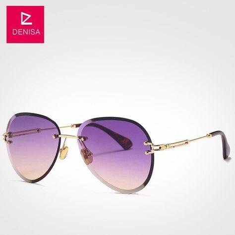 Denisa Fashion Blue Red Aviation Sunglasses Women Men Driving Uv400 Sun Glasses Clear Vintage Glasses Zonnebril Dames G18475