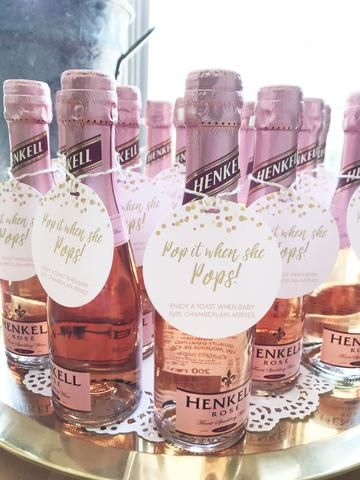 pink champagne baby shower favors