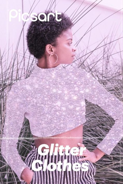 When sweater weather meets full GLAM 😝✨ It's super easy to create this edit! Just search for glitter stickers then use the cloths option in the Eraser tool.
