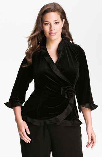 alex evenings ruffled velvet wrap top (plus) available at