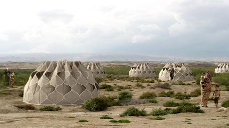 abeer seikaly weaves shelters for disaster relief using patterned fabric