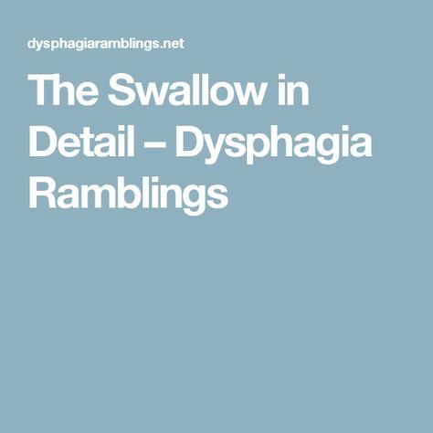 The Swallow in Detail – Dysphagia Ramblings