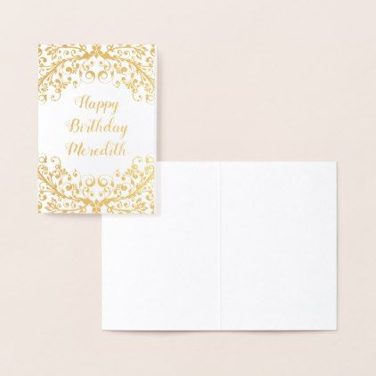 Real Gold Foil Floral Personalized Birthday Card Zazzle Com