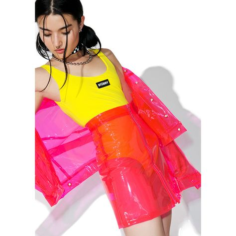 Brashy Crystalline Pink Transparent High Waisted Skirt yer like, sooo transparent.Keep it crystal clear in this neon pink skirt featuring a totally see-thru construction in PVC, high-waist fit, A-line cut and zip-front closure.