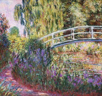 Bassin aux nymphéas : Les iris d'eau, par Claude Monet
