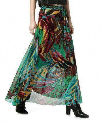 da12edd988bbe8 Blue   Green Leaf Tie-Waist Maxi Skirt I really like finding good ...
