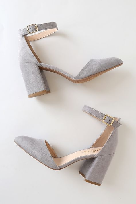 Show off your wild side with the Ellarose Grey Suede Ankle Strap Heels! Soft, vegan suede shapes an almond toe upper and adjustable ankle strap. Dr Shoes, Me Too Shoes, Grey Heels, High Heels, Fashion Shoes, Fashion Accessories, Aesthetic Shoes, Cute Heels, Rubber Shoes
