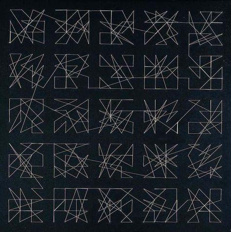 Vera Molnar, Hommage à Dürer - 400 aiguilles, traversées par un fil, acrylic on…