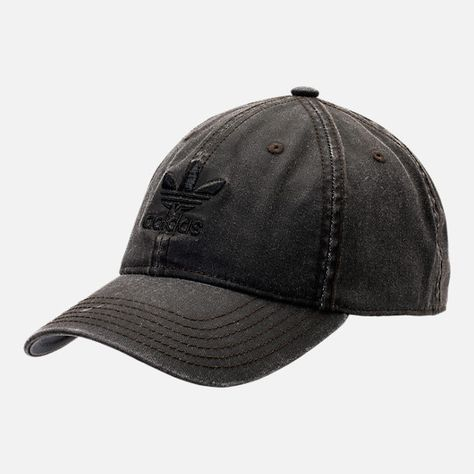 Front view of adidas Originals Precurved Washed Strapback Hat in Black Denim af70839592f4