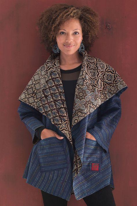 Ajrakh Circular Jacket by Mieko Mintz  - Ajrakh Print, 1 (2-16) (Woven Jacket)