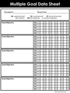 IEP Goal and Objective Template for Progress Monitoring Special Education Forms, Preschool Special Education, Special Education Progress Monitoring, Special Education Organization, Tracking Student Progress, Special Education Quotes, Data Collection Sheets, Life Skills Classroom, Future Classroom