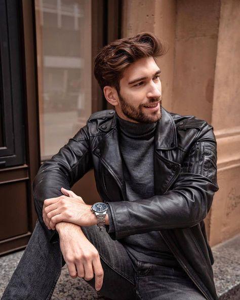 """Mario Cyrus's Instagram photo: """"@philipdeml #leatherjacket #leathermen #philpdeml #blackleatherjacket #jacket #blackjacket #mensleatherjacket #instacool #instafashion…"""""""