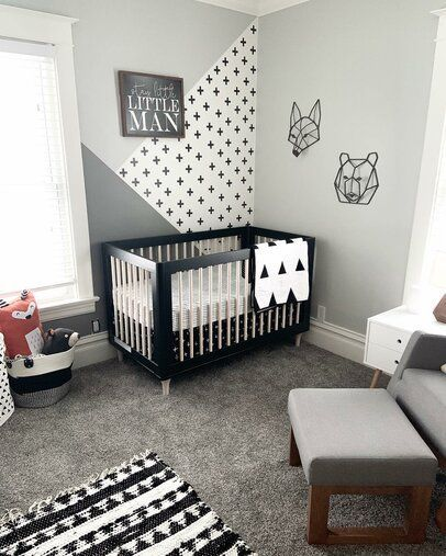 Love The Black And White Nursery Such A Clean Look And Gender Neutral Affiliate Nursery Kidsroom Nursery Baby Room Baby Room Design Nursery Room Boy