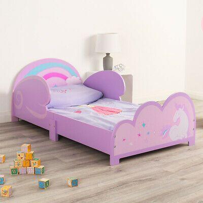 Childrens Unicorn Bed Frame Toddler Kids Bedroom Girls Pink Purple