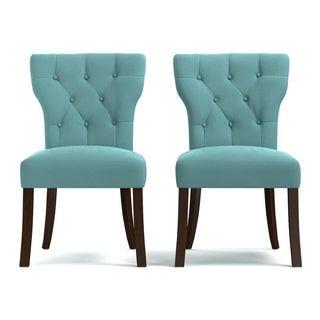 Handy Living Sirena Deep Turquoise Blue Velvet Upholstered Armless Dining Chairs (Set of 2)
