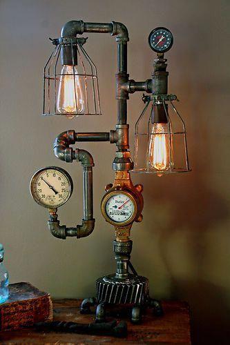 Steam Gauge Gear Plumbing Lamp Light Industrial Art Machine Age