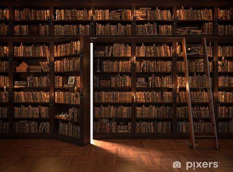 Hidden Bookshelf Door, Bookcase Door, Bookshelves, Hidden Doors, Beautiful Library, Dream Library, Home Library Design, House Design, Cozy Home Library