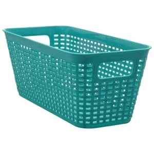 Essentials Long Rectangular Plastic Weave Baskets 4 75x11 875x5 375 In Basket Weaving Basket Plastic Laundry Basket