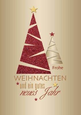 Moderne Weihnachtskarten.Weihnachtskarte Zwei Baume In Rot Und Gold Mit