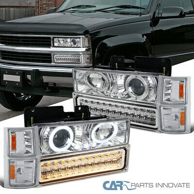 For 94 98 C10 Silverado Clear Lens Projector Headlights Led Bumper Corner Lamps In 2020 Sealed Beam Headlights Projector Headlights Silverado