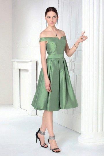 07044f61b0 Robe soirée verte à épaule dénudée pour gala