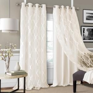 Elrene Bethany Sheer Overlay Blackout Window Curtain 23033ivr The Home Depot Living Room Decor Curtains Curtains Grommet Curtains
