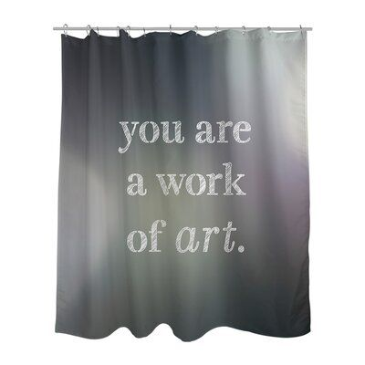 East Urban Home Multicolor Background Work Of Art Quote Shower Curtain Pvc Liner Included Color Black White Shower Curtain Sets Vinyl Shower Curtains Christmas Shower Curtains