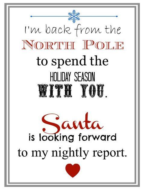 Elf Returns from the North Pole Letter #elfontheshelf