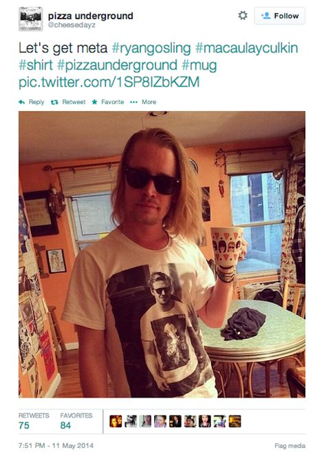 Macaulay Culkin tweeted a picture of himself wearing a t-shirt with a picture of Ryan Gosling wearing a t-shirt with a picture of Macaulay C...