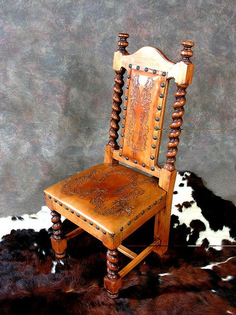 hand tooled leather seat and back from wild bills furniture store #tooled #seat #chair
